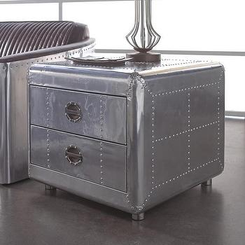 Awesome Lazzaro Leather Lindbergh Silver Bomber End Table