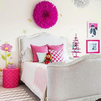 Pink And Gray Girl Bedroom With Gray French Bed