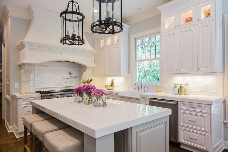 White And Gray Kitchen With Black Lanterns Transitional