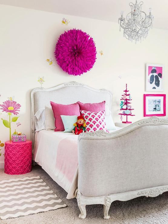 Pink And Gray Girl Bedroom With Gray French Bed View Full Size