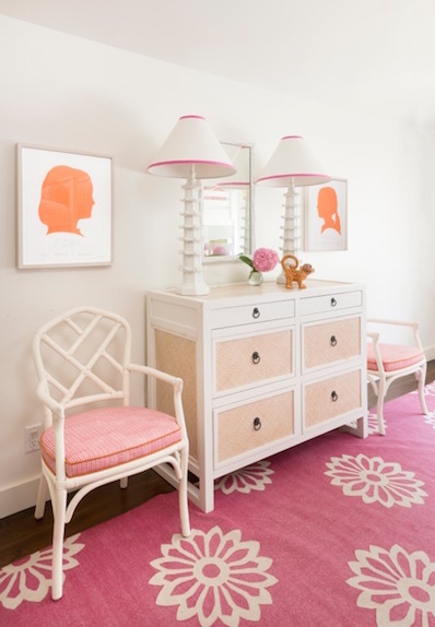 Orange and Pink Girl Room with Silhouette Prints ...