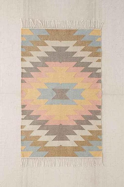 Well known Pink Faded Kilim Indoor or Outdoor Woven Rug BN51