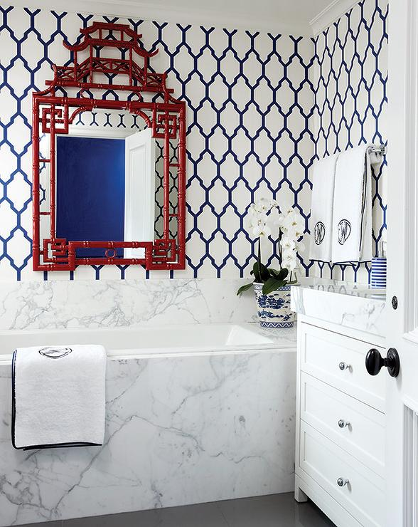 Navy Blue Trellis Wallpaper Design Ideas
