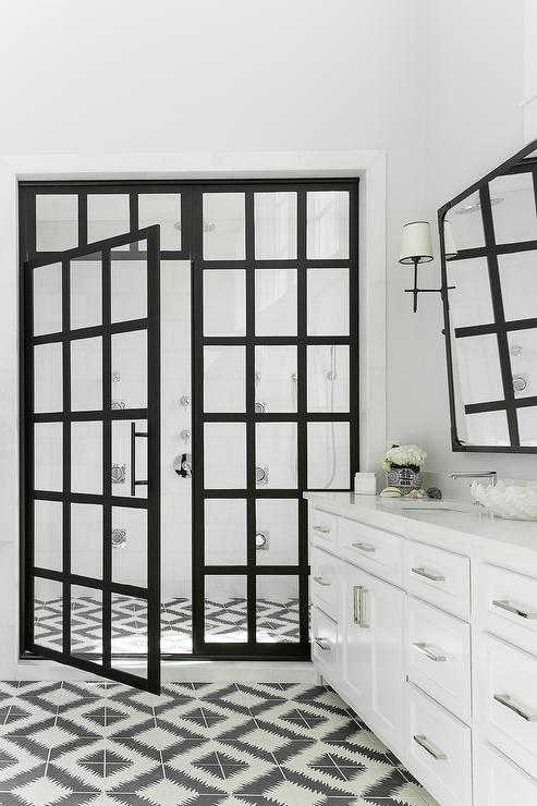 Black And White Bathroom With Steel Shower Doors Contemporary Bathroom