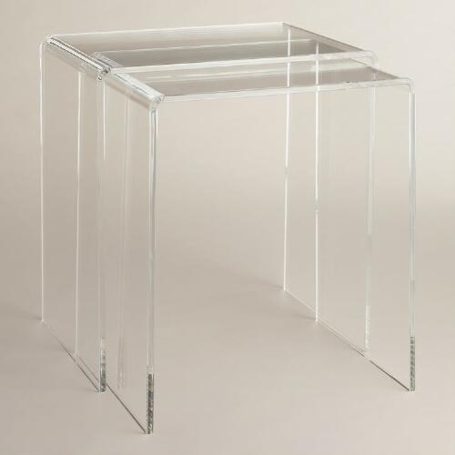 Clear acrylic thad nesting tables
