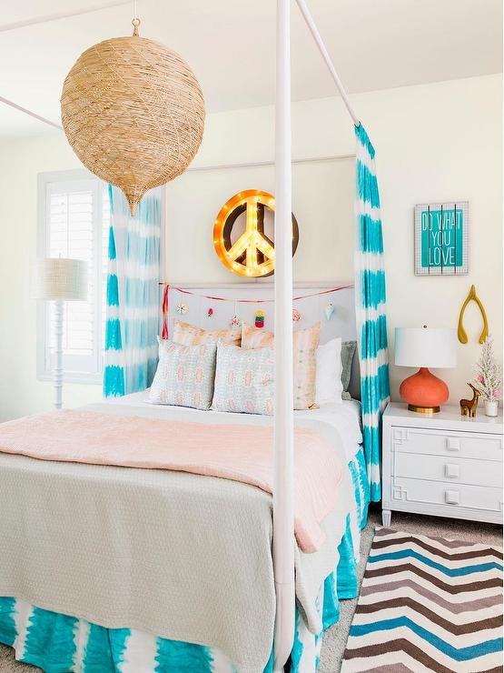 Orange And Turquoise Teen Girl Bedroom With Peace Sign Marquee Light