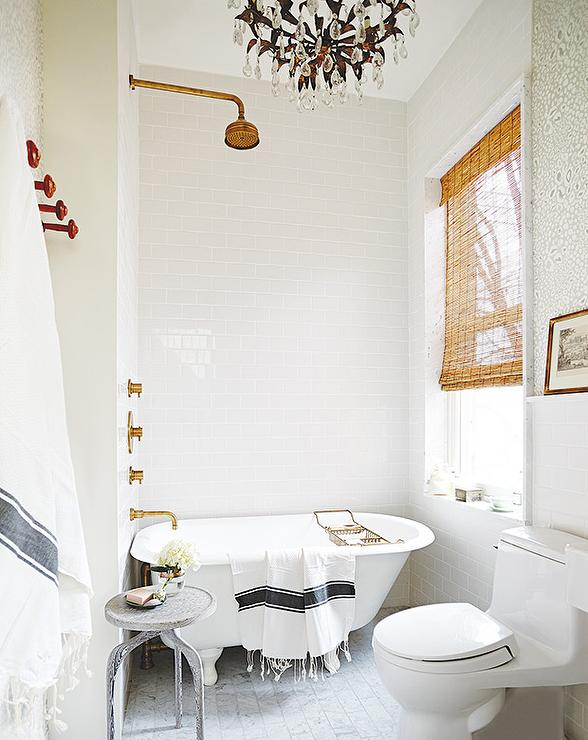 gold rain shower head. White and Gold Bathroom with Gray Turkish Towel  Transitional