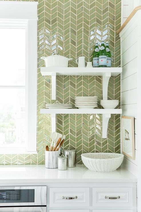 White Kitchen Herringbone Backsplash green herringbone tile backsplash design ideas