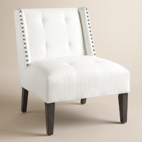 White Carlin Wingback Chair