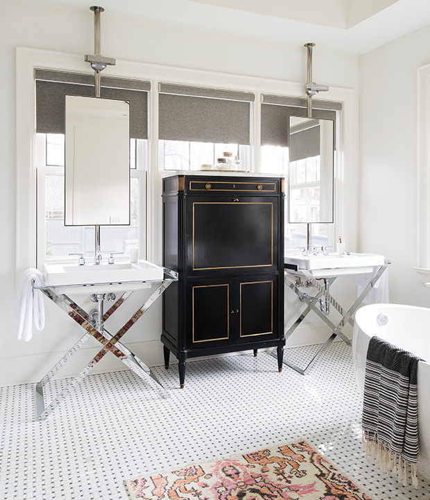 X Chrome Washstands With Black And Gold Linen Cabinet