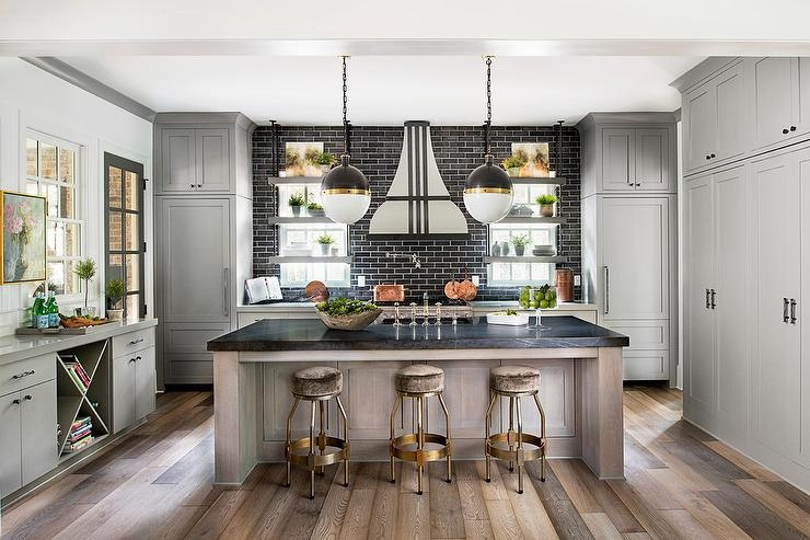 Gray Kitchen Cabinets With Black Brick Tile Backsplash