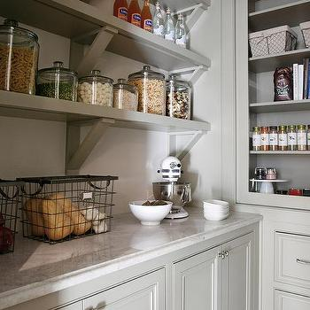 Light Gray Pantry Shelves With Corbels