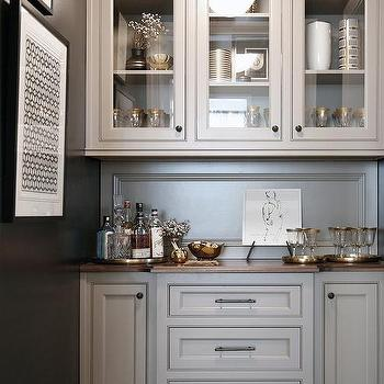 gray pantry counters with wood countertops