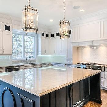 White Kitchen Cabinets With Cream Quartzite Countertops