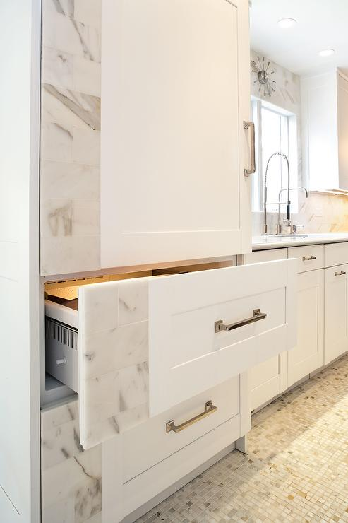 Wonderful Marble And Cabinet Paneled Refrigerator And Freezer Drawers