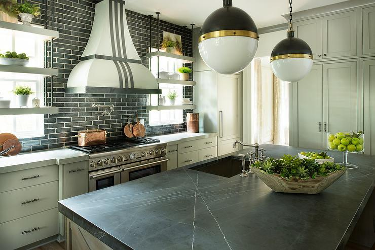 Pietra Gray Marble On Kitchen Island Contemporary Kitchen