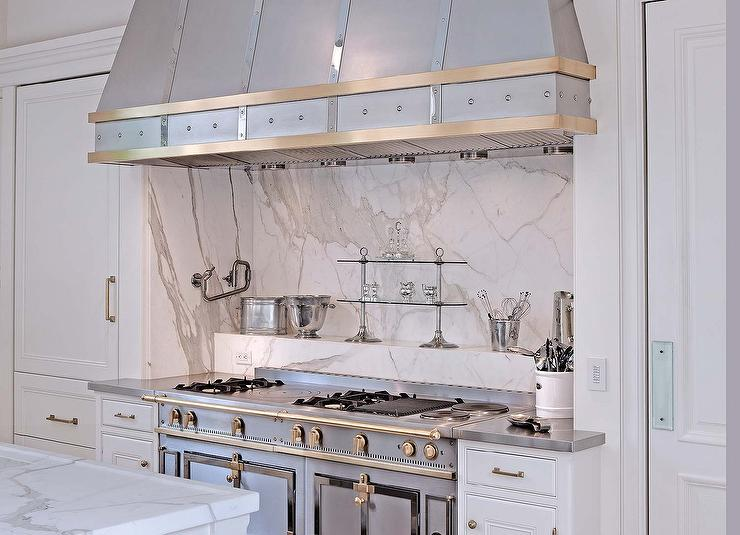 Superbe Stainless Steel French Stove With Marble Cooktop Spice Ledge