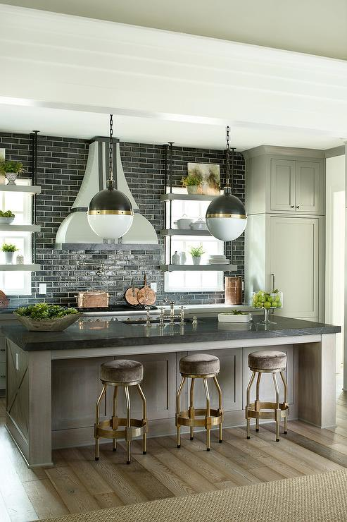 Taupe Kitchen Island With Brass Counter Stools