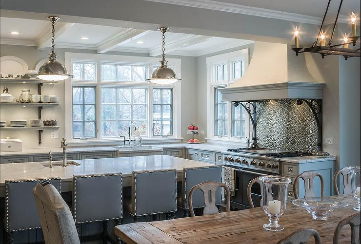 Gray French Kitchen With White Stucco Kitchen Hood French
