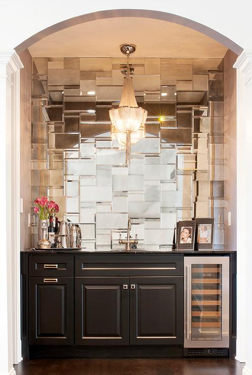 Wet Bar And Mosaic Mirrored Tile Backsplash