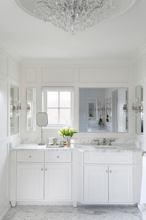 White French Bathroom With Calacatta Marble Transitional