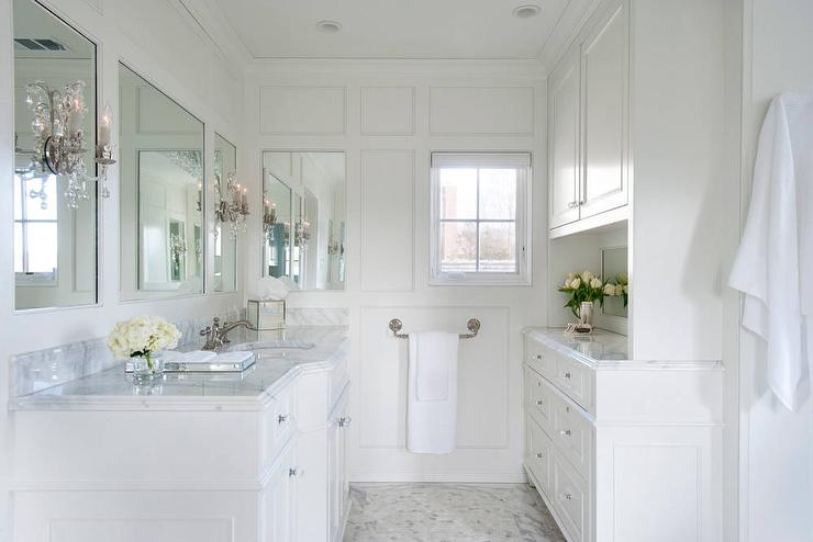 White french bathroom with calacatta marble transitional for Marble master bathroom designs