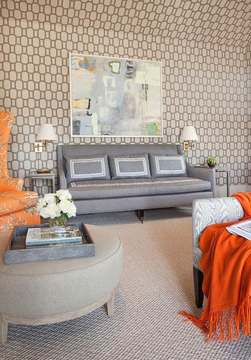Surprising Gray Linen Sofa With Swoop Arms Flanked By Gray End Tables Machost Co Dining Chair Design Ideas Machostcouk