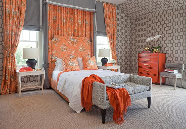 Orange and Gray Chinoiserie Bedroom - Contemporary - Bedroom