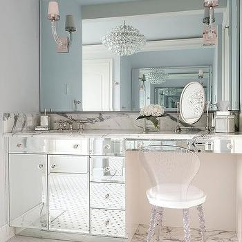 Mirrored Makeup Vanity With Lucite Vanity Chair