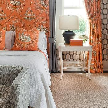 Gray And Orange Bedroom With Toile Curtains Behind Bed