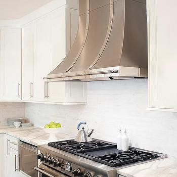 White Kitchen Hood With Stainless Steel Straps Design Ideas