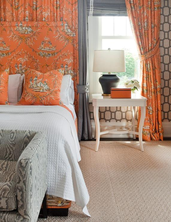 Orange Trellis Rug - Contemporary - bedroom - Diane Bergeron Interiors