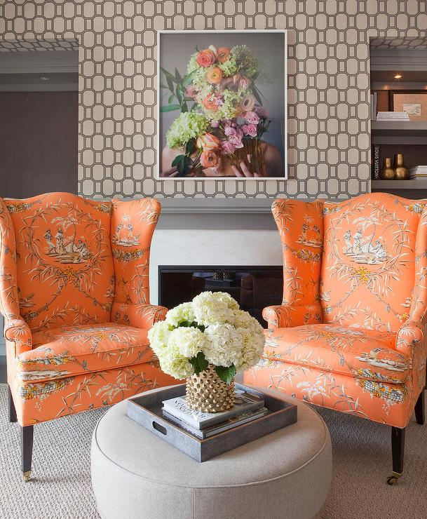 Gray Living Room With Orange Toile Wingback Chairs