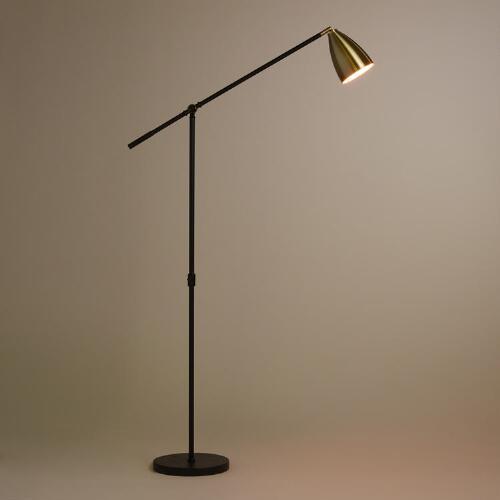 Brass and black articulating dexter floor lamp aloadofball Image collections