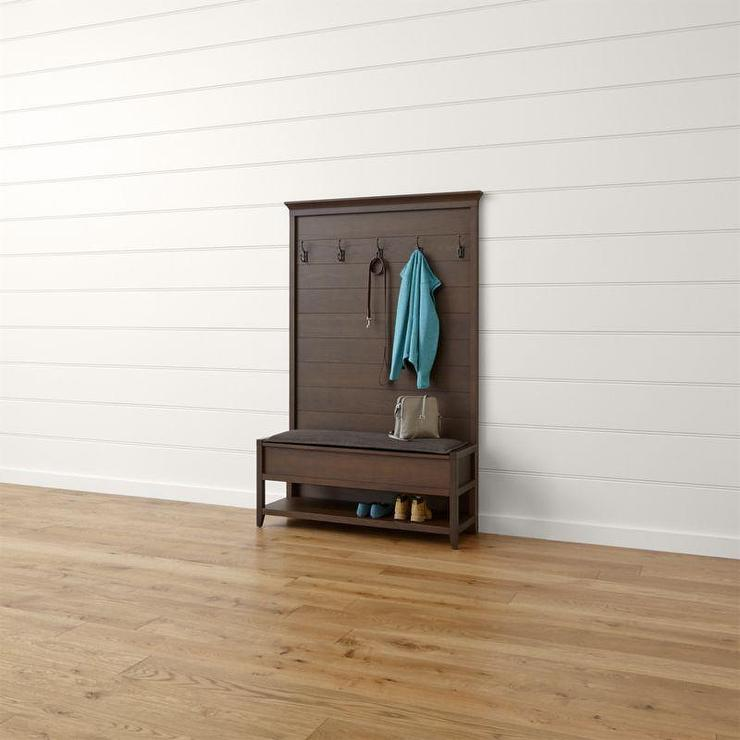 Brown Dearborne Bench With Coat Rack And Cushion Magnificent Wooden Coat Rack With Bench