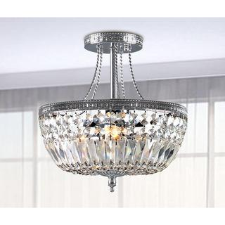 Jessica clear crystal basket semi flush mount chrome 3 light chandelier mozeypictures Images