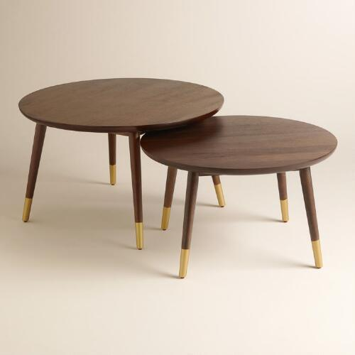 Randon Brown And Gold Coffee Table Collection