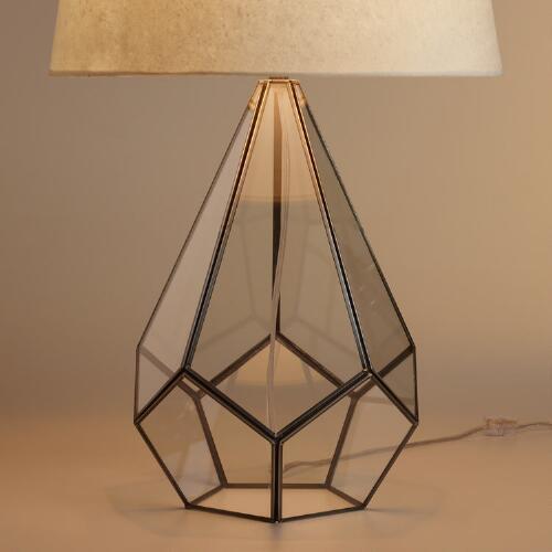 Glass Terrarium Silver Table Lamp Base