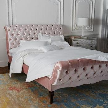 Grey Queen Tufted Sleigh Bed