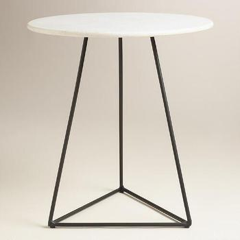 threshold round grey marble top accent table. Black Bedroom Furniture Sets. Home Design Ideas