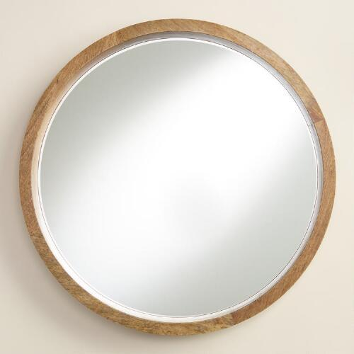 Natural Wood Round Evan Mirror