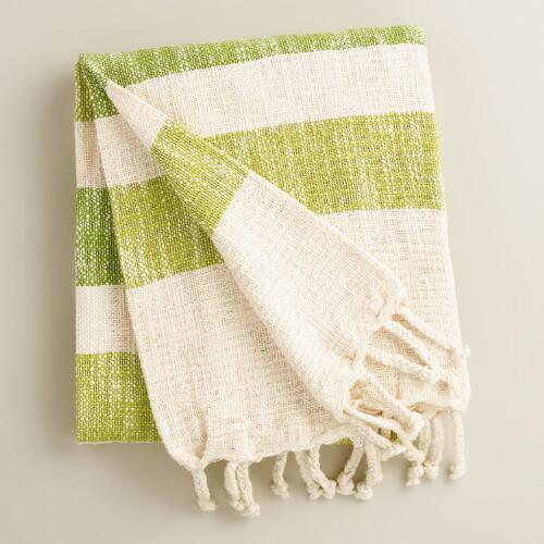 Fantastic Green Stripe Cotton Outdoor Throw CN06