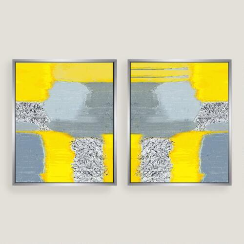 Delicieux Yellow Grey Abstract Canvas Wall Art