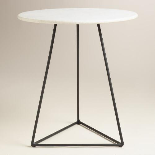 White Marble And Black Metal Round Accent Table - White marble and metal round accent table