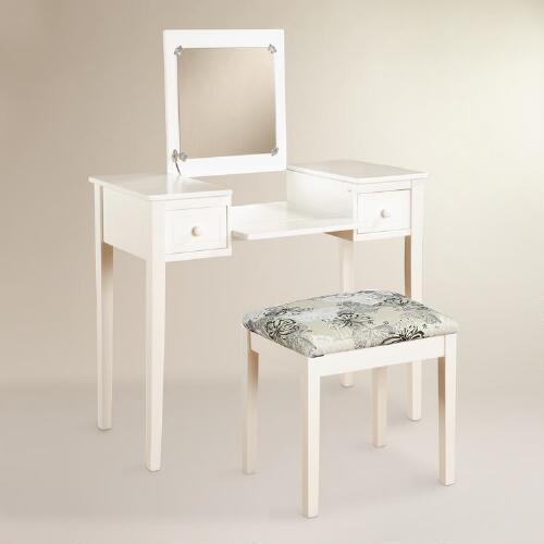 white and gold vanity table. White Wood Margaret Vanity Set Yesenia Gold Mirror Table
