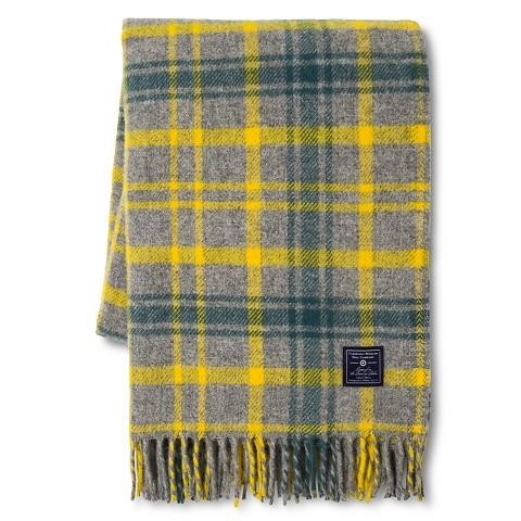 Faribault For Target Grey And Yellow Plaid Wool Throw