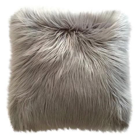 Threshold Long Haired Gray Fur Pillow