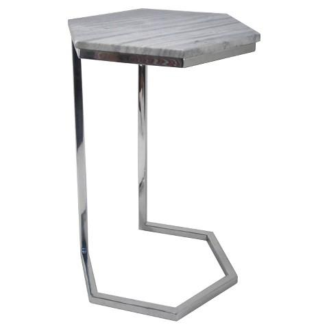 Threshold Grey Hexagonal Marble Top Accent Table