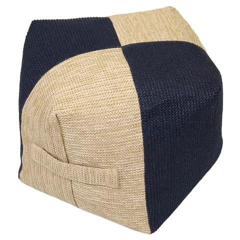 Threshold Navy And Natural Outdoor Woven Pouf Delectable Threshold Outdoor Pouf