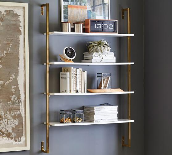 White And Br Olivia Wall Mounted Shelves